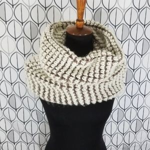 ALDO Cream and tan Chunky Knit Funnel scarf. Large